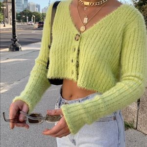 Green fuzzy urban outfitters cardigan